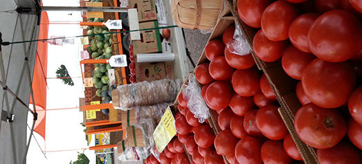 tomatoes and other fresh produce at the farmers market.